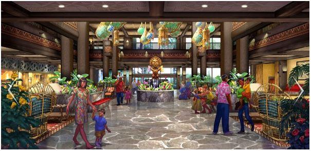 Polynesian lobby concept art